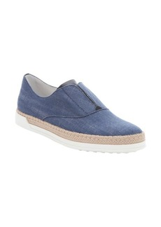 Tod's blue denim slip-on espadrille sneakers