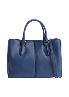 Tod's blue jean pebbled leather convertible top handle bag