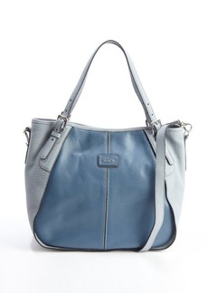 Tod's blue leather colorblock shoulder bag