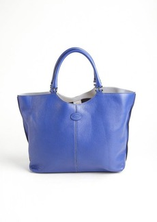 Tod's blue leather hinged top handle tote
