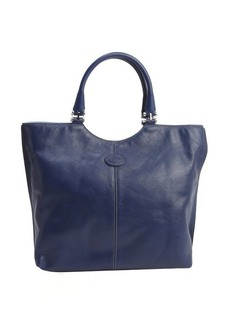 Tod's blue leather logo 'Shopping Media' tote
