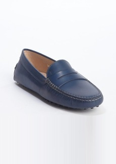Tod's blue leather penny strap slip-on loafers