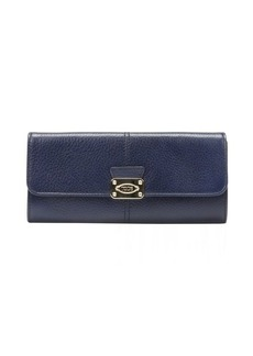Tod's blue leather snap flap continental wallet