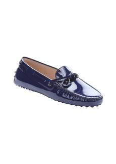 Tod's blue patent leather moc toe driving loafers