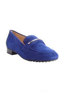 Tod's blue suede penny strap loafers