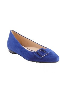 Tod's blue suede pointed toe buckle detail flats
