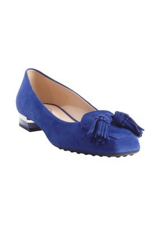 Tod's blue suede tassel detail loafers