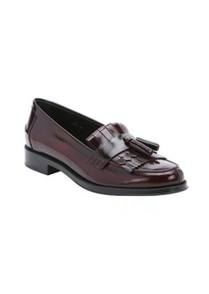 Tod's bordeaux leather fringe and tassel moc toe loafers