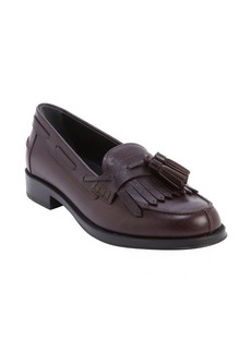 Tod's bordeaux leather fringe tassel slip-on loafers