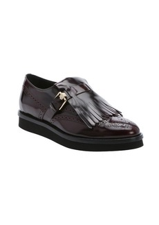 Tod's bordeaux leather fringed derby oxfords