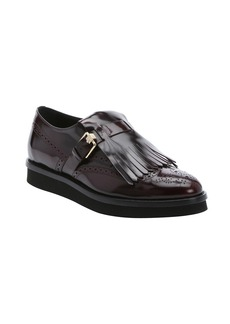 Tod's bordeaux leather fringed derby o...