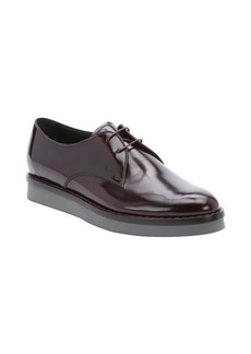 Tod's bordeaux leather lace-up derby oxfords