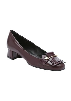 Tod's bordeaux leather loafer heels