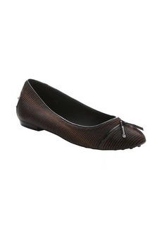 Tod's brown and black striped pony hair ballet flats