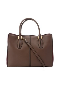 Tod's brown and purple leather colorblock convertible tote bag