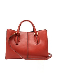 Tod's brown and raspberry leather mini top handle bag