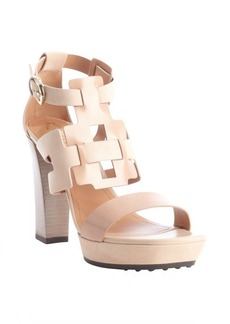 Tod's brown and tan leather and suede geometric weave heel sandals