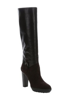 Tod's brown leather and suede knee-high pull-on boots