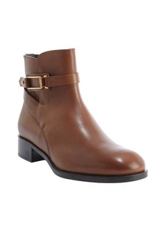 Tod's brown leather gold buckle side zip ankle boots