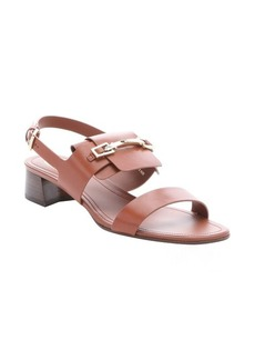 Tod's brown leather horsebit detail slingback sandals