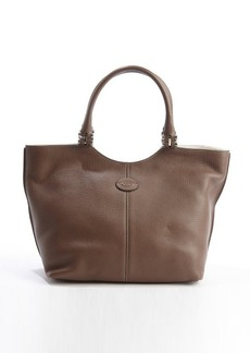 Tod's brown leather logo 'Piccola' shopping tote