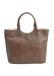 Tod's brown leather logo 'Shopping Media' tote