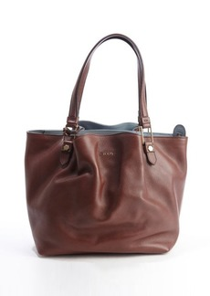 Tod's brown leather ruched top handle tote