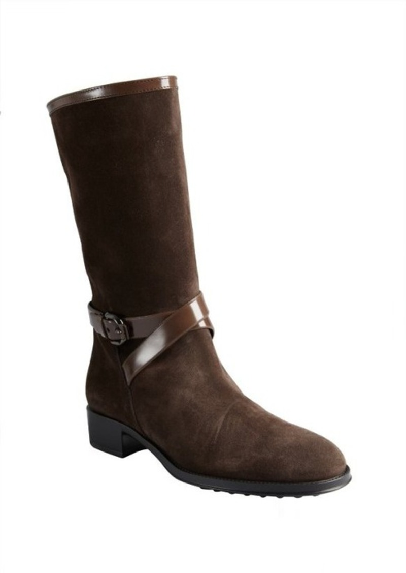 Tod's brown suede and patent buckle strap boots