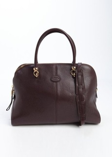 Tod's burgundy leather large top handle tote