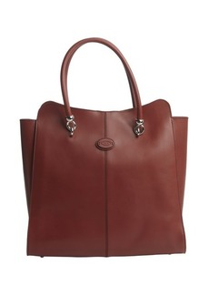 Tod's burgundy leather logo stamp top handle large tote