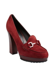 Tod's burgundy suede moc toe wooden heel loafer pumps