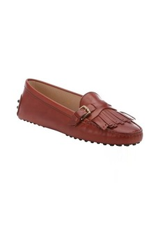 Tod's burnt leather fringe detail loafers