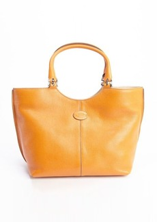 Tod's burnt orange leather mid-size tote