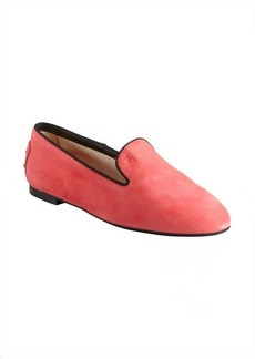 Tod's carnation and black suede grosgrain trimmed loafers