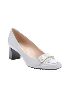 Tod's cement leather buckle detail kitten heels
