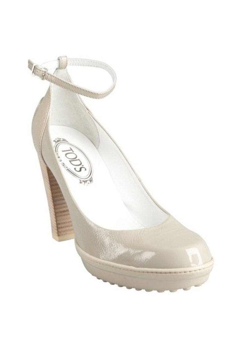 Tod's cement patent leather ankle strap pumps