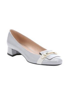 Tod's cement white patent leather horsebit detail loafers