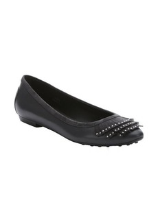 Tod's charcoal leather studded fringe ballet flats