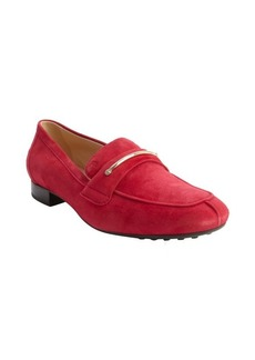 Tod's cherry red suede penny strap loafers