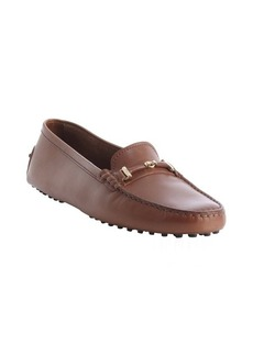 Tod's chocolate leather moc toe horsebit detail loafers
