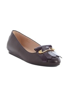 Tod's chocolate leather safety pin and tassel detail ballerina flats