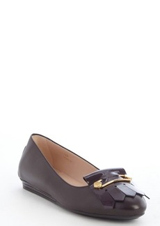 Tod's chocolate leather tassel detail flats