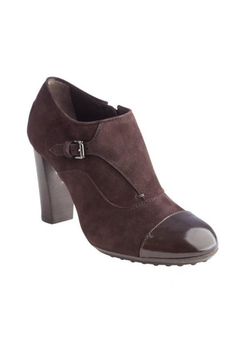 Tod's chocolate suede cap toe stacked heel booties
