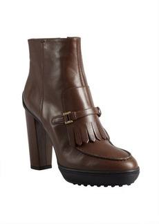 Tod's cigar leather fringed buckle strapped platform ankle boots