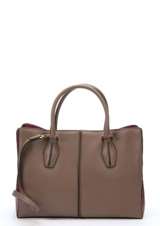 Tod's clay and dark red colorblock leather convertible tote