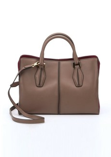 Tod's clay and dark red leather color block bag