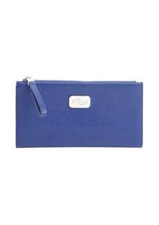 Tod's cobalt blue leather logo plaque continental wallet