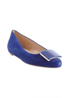 Tod's cobalt blue leather square emblem pointed toe flats