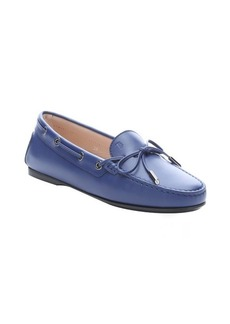 Tod's cobalt leather moc toe driving loafers