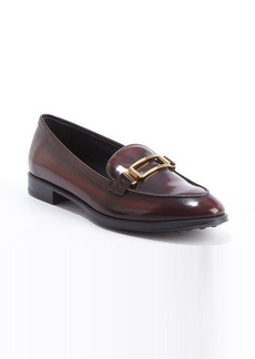 Tod's cognac patent leather buckle detail slip-on loafers